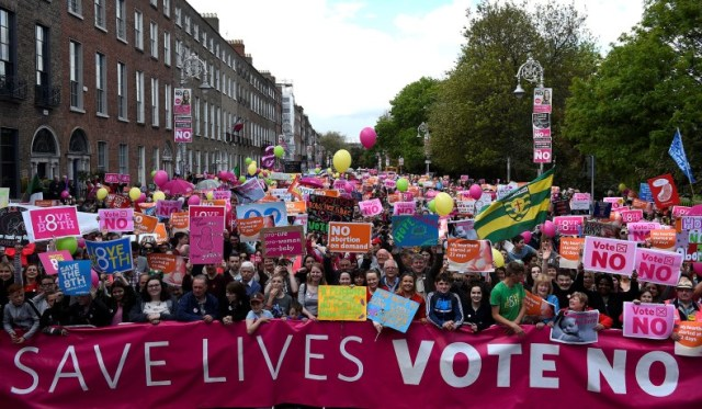 Demonstrators take part in a 'Pro-Life' rally, ahead of a May 25 referendum on abortion law, in the centre of Dublin